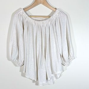 Deletta by Anthro | Pleated Collar Linen Blend Top